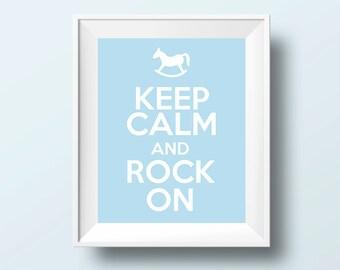 20% OFF Keep calm and rock on, nursery art, nursery, baby boy nursery, blue nursery, boy nursery art, rocking horse, boy nursery decor,print