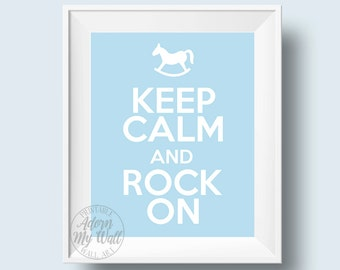 Keep calm and rock on, nursery art, baby boys room decor, blue, rocking horse, print, keep calm, 8x10