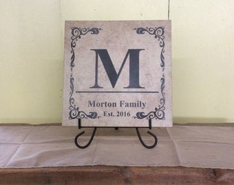"Family Monogrammed Personalized Lasered Engraved Tile 13"" x 13"""