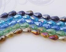 10/20 Pcs Mixed Transparent Glass Tear Drop Beads - 10x15mm