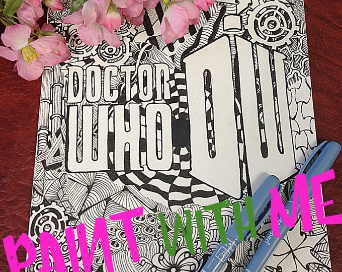 Printable Doodle Adult Coloring Page, PDF Zentangle Coloring Page, Line art, Printable Coloring Page, Download, Doctor Who