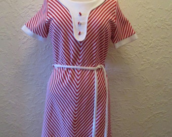 1970s Original Vintage Red White Striped Day Dress
