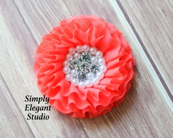 Coral Chiffon Flowers with Pearls and Rhinestones, Ruffled Fabric Flowers, Baby Hair Accessories