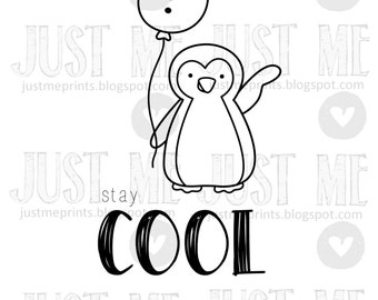 Cool winter penguin with snowman balloon digital stamp