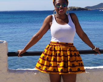 Ankara Mini Skirt, African print skirt, gathered skirt, ankara skirt