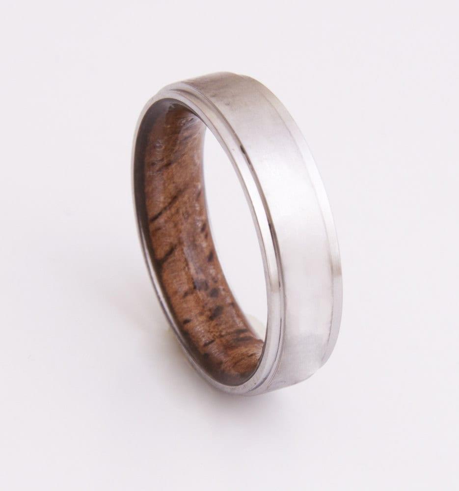titanium and koa ring mens wood rings wood wedding band. Black Bedroom Furniture Sets. Home Design Ideas