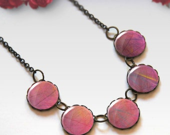 Pink necklace, Bridesmaid gift, Glass dome necklace, Boho jewelry for women, Chunky bib necklace, Gift idea, 5091-1