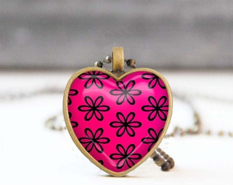 Fuchsia heart necklace, Floral heart shaped Summer necklace, Bridesmaid gift, Love gift for her, 5011-1