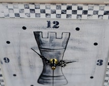 Chess clock. Hand-painted clock rook. Chess party. Chess gift.