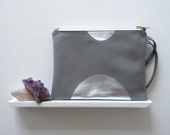 Grey Clutch Bag, Silver Foiled Faux Leather, Printed and Sewn by Hand