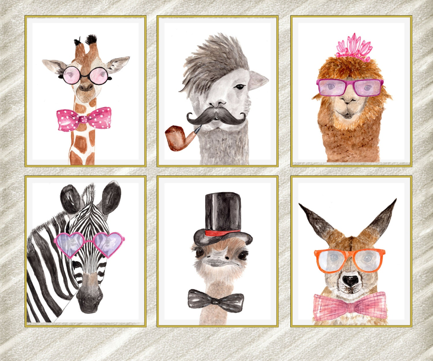 Uncategorized Pictures Of Animals To Print watercolor animal prints funny prints