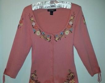 Betsey Johnson Vintage M Medium chic cotton embroidered scoop neck cardigan PINK