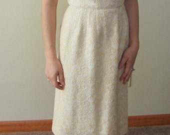 1950s Floral Embroidered Cream Wiggle Dress • Mad Men Wiggle Dress