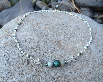 Necklace w/ green beading and Celtic hearts