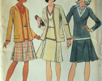 Uncut 1970s Simplicity Vintage Sewing Pattern 5848, Size 14; Misses' Unlined Cardigan and Two-Piece Dress