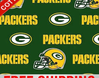 """Green Bay Cotton Fabric NFL Style GRE-6317 60"""" Wide. Free Shipping"""