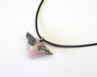Rose Quartz heart blackened wing Silver 925