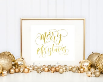 Merry Christmas foil print! Real foil - Choose any color - Holiday Foil print