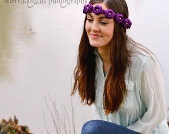 Crochet Daisy Flower Crown Headband