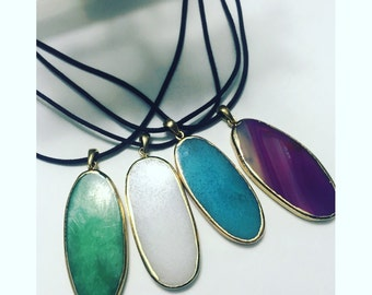 Beautiful Stained Glass Necklaces - Green Pendant - Blue Pendant - White Pendant - Purple Pendant