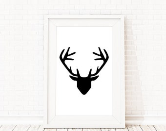 Deer Antlers Art, Woodland Forest Animals, Cottage Decor, Minimalist Art, Black and White Prints, Contemporary Wall Art, Woodland Wall Art
