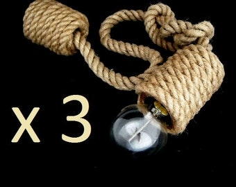 "set of 3 Jute Basic 100 cm (40"") each, pendant lights, made from sailing rope, hanging lights , industrial light, loft light, marine style"