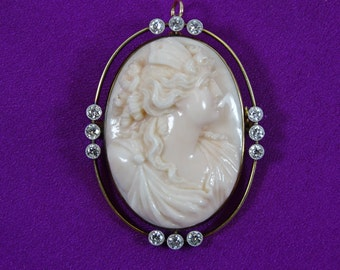 14K Gold /Cameo and Diamond Pendant/Brooch by Brock & Co