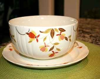 """Dinner Plate and 7 3/4"""" Mixing Bowl//Autumn Leaf Made by Hall//Vintage Plate and Bowl"""
