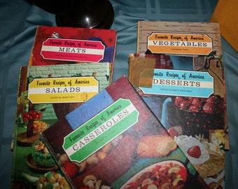 1966 Favorite Recipes of America//Five Volumes Full of Favorite Recipes//Box Set//Vintage Cookbooks