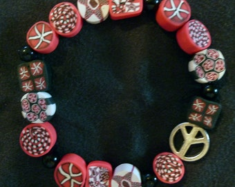 Handmade Polymer Clay Bracelet - Pink and Black with a Peace Sign Charm