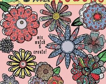 DJ Zen-Doodle Flowers Clip Art Download