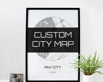 Custom City  Map Art - Any City in the world - Line Art Map home decor