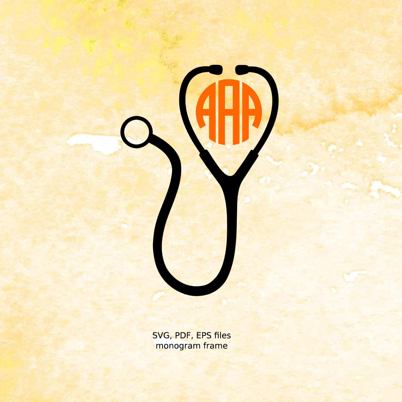 nurse monogram svg stethoscope monogram frame svg pdf eps files