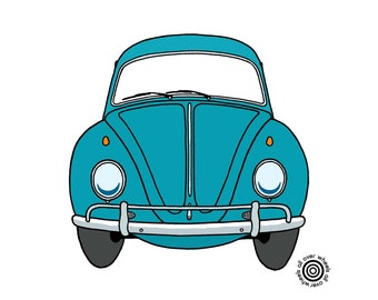 VW Beetle T-SHIRT classic Volkswagen colors, Original vintage VW bug art by Wheels All Over