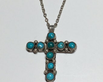 Vintage Turquoise Sterling Silver Cross Necklace