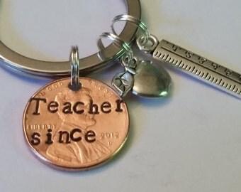 Teacher Custom Lucky Penny Keychain Gift, Gift for Teacher, Ruler, Apple, Best Teacher, Awesome Teacher, Teacher Retirement Gift,New Teacher