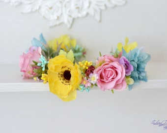 Bridal floral crown Colorful wedding flower crown Garden anemone hair rose boho flower wreath Wedding floral crown Yellow mint floral halo