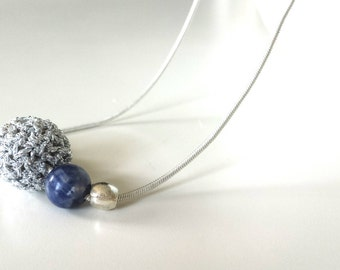 Minimal beaded necklace handmade with sodalite pendant, statement beaded necklace, sodalite necklace, crochet necklace.