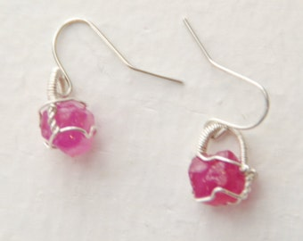 Ruby / pink sapphire silver wire wrapped earrings