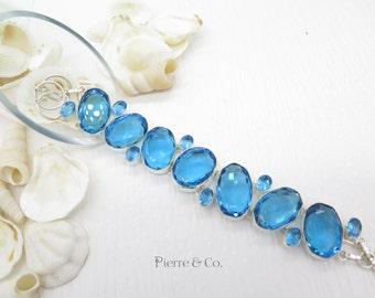 Swiss Blue Topaz Quartz Sterling Silver Bracelet