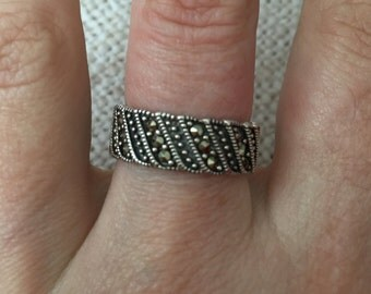 925 Sterling Silver, Silver ring with marcasites, vintage silver jewelry, marcasite jewelry, vintage silver rings, turkish jewelry