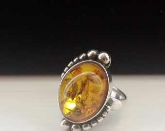 Sterling Silver .925 Ring With Amber Cabochon