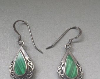 Sterling Silver .925 Earrings With Malachite