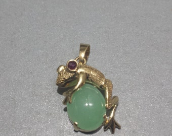14K Yellow Gold Frog Pendant