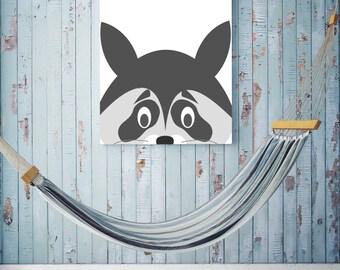 Raccoon Animal Digital Print, Instant Download, Nursery, Playroom, Black & White Printable