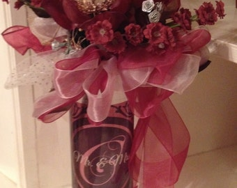 Wedding centerpiece with monogram initial
