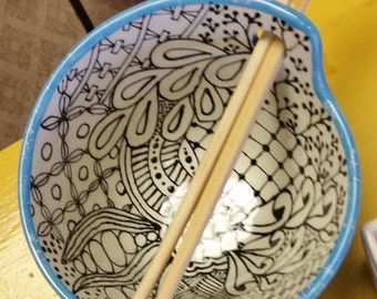 Sushi ceramic bowl, zentangle inspired, with chopsticks