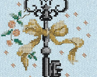 Key with bow, cross stitch embroidery machine