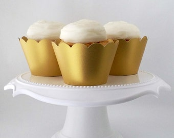 Set of 12 – Metallic Gold Cupcake Wrappers – Standard Sized - Ready To Ship