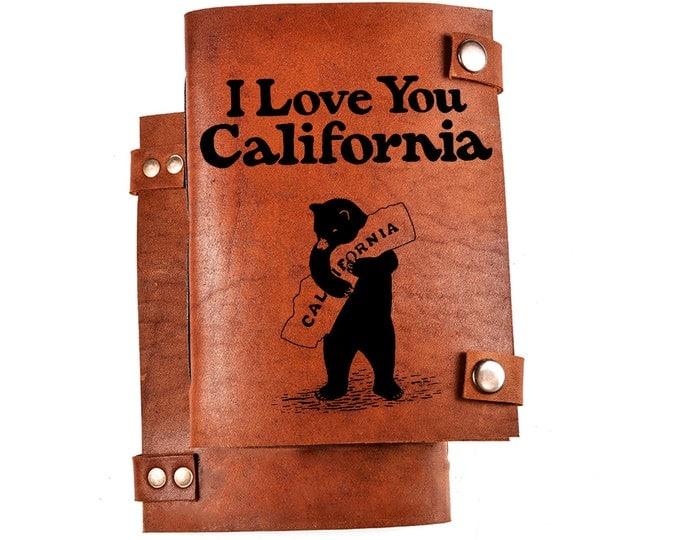 I love califorina journal - California notebook - California Bear - CA journal - CA notebook - Califorina gift - leather journal